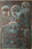 04 People in Blue 120 x80 Acrylics on canvas