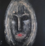 23 Face on Black Board 1, 40 x 40 Acrylics on canvas