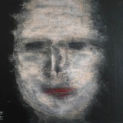 24 Face on Black Board 2 40 x 40 Acrylics on canvas