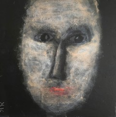 25 Face on Black Board 3 40 x 40 Acrylics on canvas