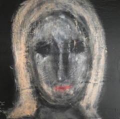 26 Face on Black Board 4 40 x 40 Acrylics on canvas