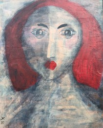 33 Red Hair 1 65 X 50 cm Mixed Media on board